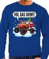 Grote maten foute kerstborrel trui kersttrui vol ga ouwe santa op monstertruck truck blauw voor heren kopen