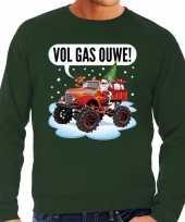 Grote maten foute kerstborrel trui kersttrui vol ga ouwe santa op monstertruck truck groen voor heren kopen