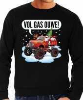 Grote maten foute kerstborrel trui kersttrui vol ga ouwe santa op monstertruck truck zwart voor heren kopen