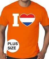 Grote maten i love holland shirt oranje heren kopen