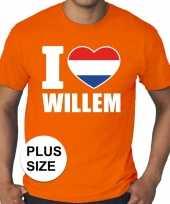 Grote maten i love willem shirt oranje heren kopen