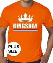 Grote maten kingsday koningsdag met kroon shirt oranje heren kopen