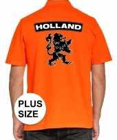 Grote maten koningsdag polo t-shirt oranje holland met grote zwarte leeuw voor heren kopen