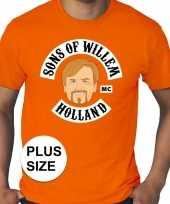 Grote maten koningsdag sons of willem shirt oranje heren kopen
