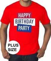 Grote maten officieel toppers in concert happy birthday party t-shirt rood heren kopen