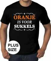 Grote maten zwart oranje is voor sukkels t-shirt heren kopen