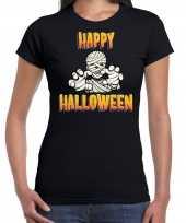 Halloween mummie horror shirt zwart voor dames kopen