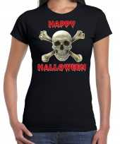 Halloween schedel horror shirt zwart voor dames kopen