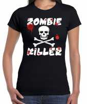 Halloween zombie killer shirt zwart dames met zombie killer bedrukking kopen