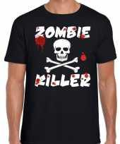 Halloween zombie killer shirt zwart heren met zombie killer bedrukking kopen