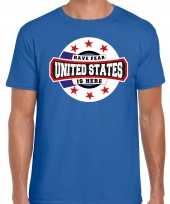 Have fear united states amerika is here supporter shirt kleding met sterren embleem blauw voor heren kopen