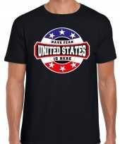 Have fear united states amerika is here supporter shirt kleding met sterren embleem zwart voor heren kopen