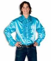 Heren rouche overhemd turquoise kopen