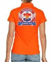 Holland drinking team polo t-shirt oranje met kroon voor dames kopen