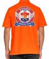 Holland drinking team polo t-shirt oranje met kroon voor heren kopen