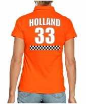 Holland race shirt met nummer 33 nederland fan poloshirt outfit voor dames kopen