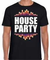 House party fun tekst dance t-shirt zwart voor heren kopen