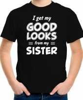 I get my good looks from my sister kado shirt zwart voor kleuter kinderen kopen