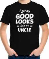 I get my good looks from my uncle kado shirt zwart voor kleuter kinderen kopen