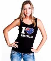 I love australie supporter mouwloos shirt zwart dames kopen