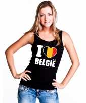 I love belgie supporter mouwloos shirt zwart dames kopen