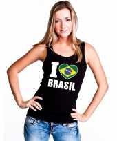 I love brazilie supporter mouwloos shirt zwart dames kopen