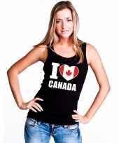 I love canada supporter mouwloos shirt zwart dames kopen