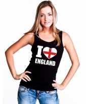 I love engeland supporter mouwloos shirt zwart dames kopen