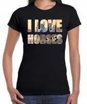I love horses paarden dieren shirt zwart voor dames paardenmeisjes kopen
