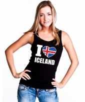 I love ijsland supporter mouwloos shirt zwart dames kopen