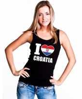 I love kroatie supporter mouwloos shirt zwart dames kopen