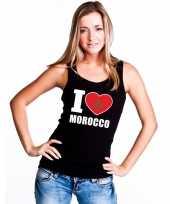I love marokko supporter mouwloos shirt zwart dames kopen