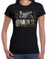 I love owls uilen dieren shirt zwart dames kopen
