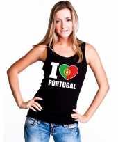I love portugal supporter mouwloos shirt zwart dames kopen