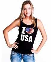 I love usa amerika supporter mouwloos shirt zwart dames kopen