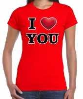 I love you cadeaushirt voor valentijnsdag rood voor dames kopen