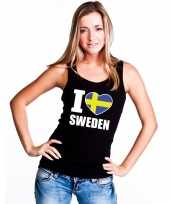 I love zweden supporter mouwloos shirt zwart dames kopen