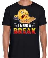 I need a break fun emoticon shirt heren zwart kopen
