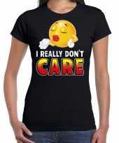 I really dont care emoticon fun shirt dames zwart kopen