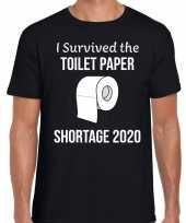 I survived the toilet paper shortage 2020 fun shirt zwart voor heren kopen