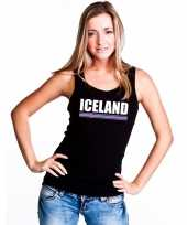 Ijsland supporter mouwloos shirt tanktop zwart dames kopen