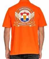 Kingsday drinking team polo t-shirt oranje met kroon voor heren kopen