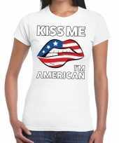 Kiss me i am american wit fun t-shirt voor dames kopen