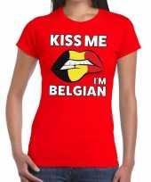 Kiss me i am belgian rood fun t-shirt voor dames kopen