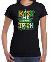 Kiss me im irish feest-shirt outfit zwart voor dames st patricksday kopen