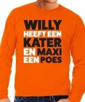 Koningsdag fun trui willy kater maxi poes oranje heren kopen