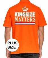 Koningsdag kingsize matters polo t-shirt oranje met kroon voor heren kopen