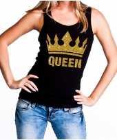 Koningsdag queen topje shirt zwart met gouden glitters dames kopen