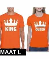 Koppel shirts koningsdag king queen oranje dames en heren maat l kopen