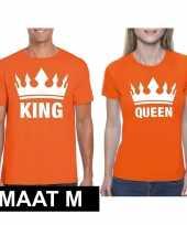 Koppel shirts koningsdag king queen oranje dames en heren maat m kopen